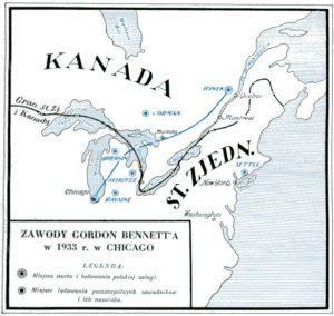 Trasy lotu załóg w 1933 roku